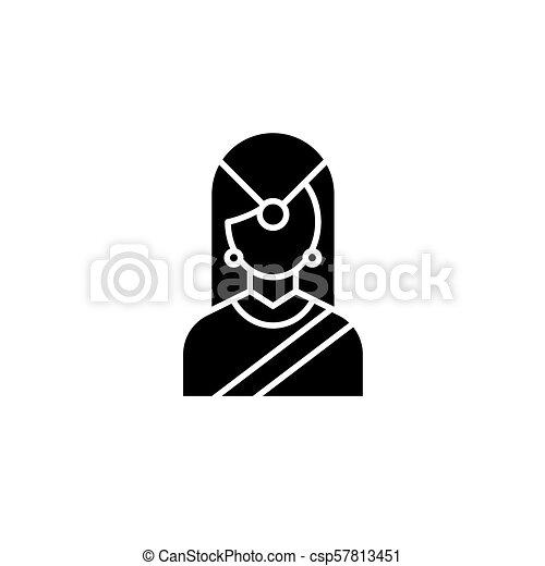concept., 伝統的である, ベクトル, 黒, シンボル, indian, 平ら, アイコン, 印, 女, illustration. - csp57813451