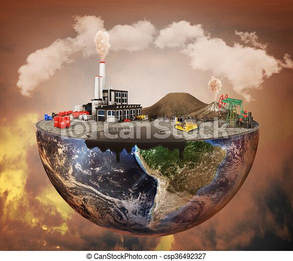 concept., 機械類, 汚染, 植物, 埋立て地, 石油, 汚い, 放出, 空気 - csp36492327