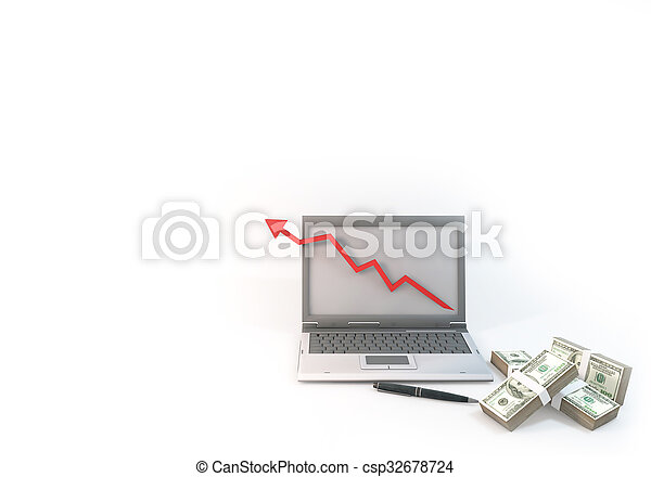 Concept 3d abstract Graph Business of Computer with 100 dollar bill at corner white Background - csp32678724