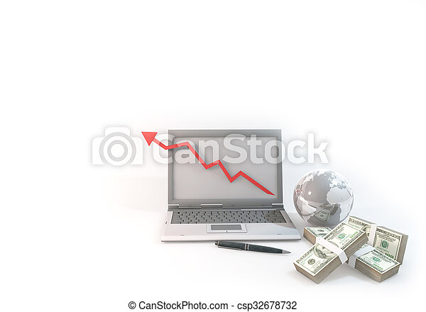 Concept 3d abstract Graph Business of Computer with 100 dollar bill near world on corner white Background - csp32678732