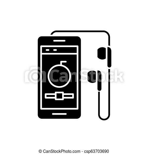 concept, achtergrond., vrijstaand, illustratie, meldingsbord, speler, vector, black , pictogram, symbool, audio - csp63703690