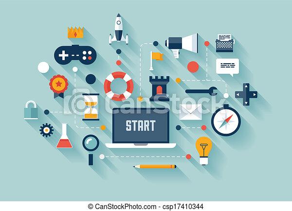 concept affaires, gamification, illustration - csp17410344