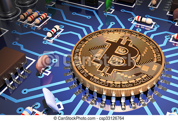 concept, aimer, carte mère, bitcoin, informatique, processeur - csp33126764