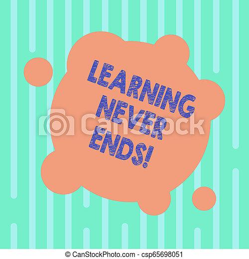 concept, apprentissage, couleur, texte, résumé, photo., il, forme, avoir, vide, fin, connaissance, non, écriture, cercles, business, jamais, mot, interminable, toujours, dernier, déformé, rond, petit, ends., ou - csp65698051