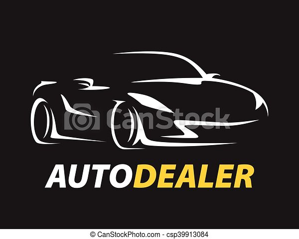 Concept Auto Dealer Car Logo With Supercar Sports Vehicle Silhouette