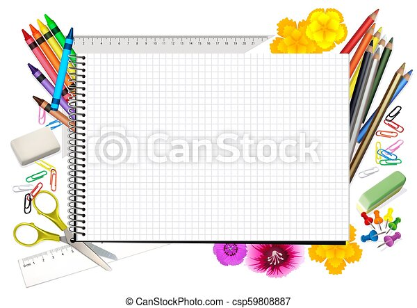 Concept Back to School with Notepad - csp59808887