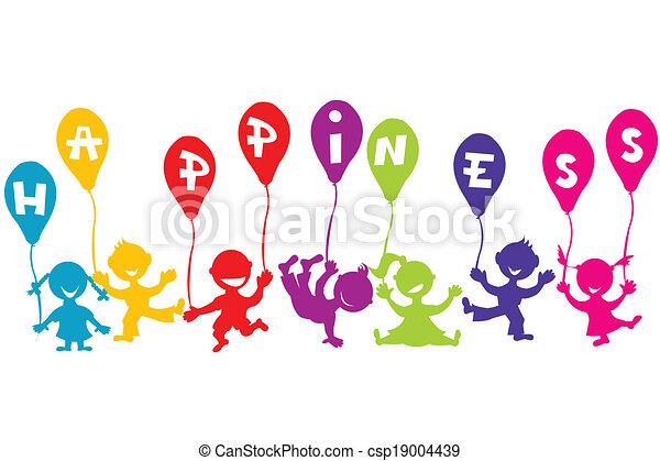 concept, ballons, kinderen, geluk, kindertijd - csp19004439