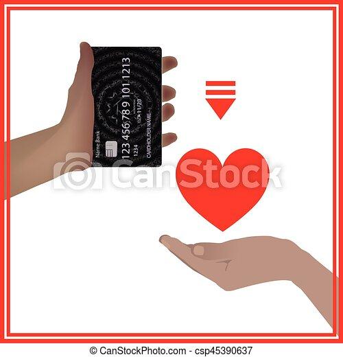 Design Bank Sale.Concept Bank Card Sale Love Prostitution Heart Hand Holding
