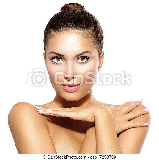 concept, beauté, regarder, appareil-photo., peau, modèle, girl, soin - csp17250739