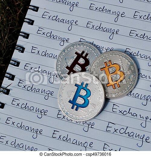 concept, bitcoin, échange - csp49736016
