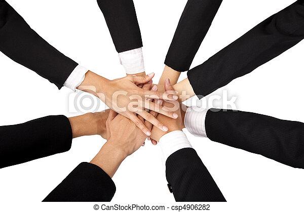 concept, bovenzijde, handen, teammate's, teamwork, cooperation., elke, andere. - csp4906282