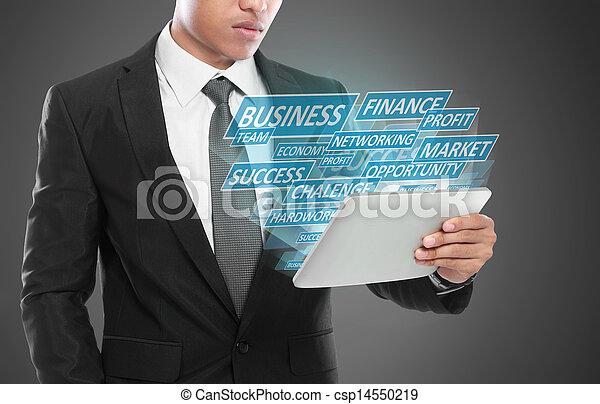 concept, business, pc tablette, utilisation, homme - csp14550219