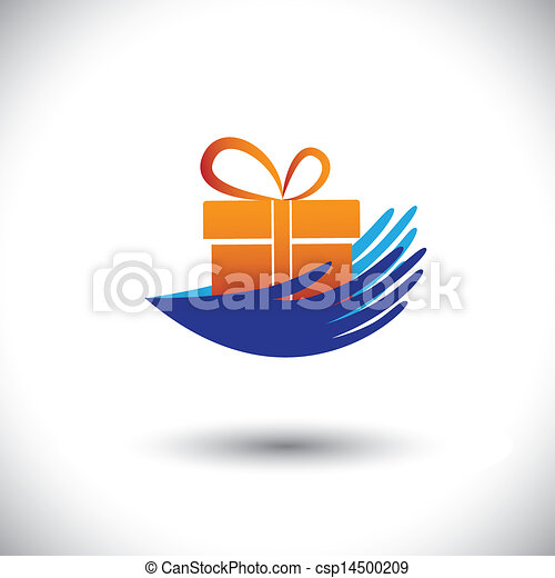 concept, cadeau, graphic-, van een vrouw, icon(symbol), vector, handen - csp14500209