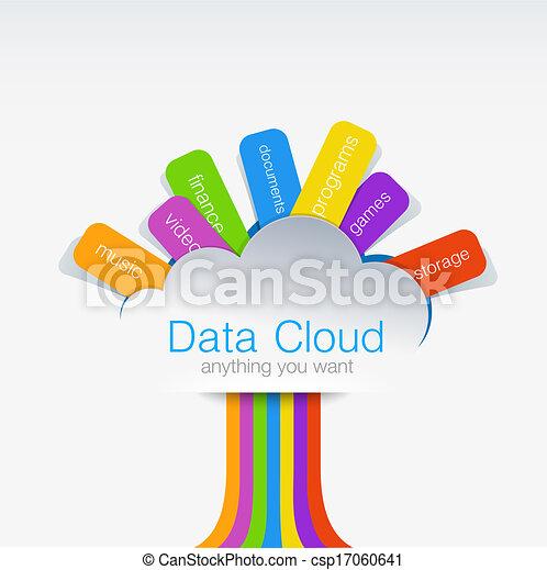 concept, calculer, créatif, arbre., conception, données, nuage - csp17060641