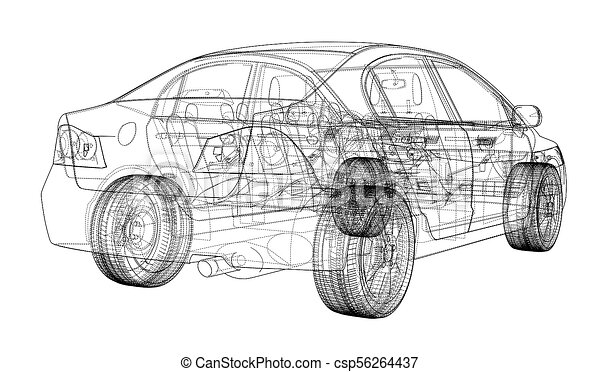 Concept car blueprint 3d illustration wire frame style drawings concept car blueprint csp56264437 malvernweather Choice Image