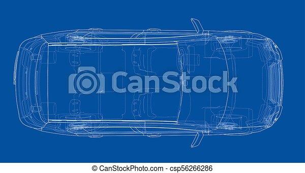 Concept car blueprint 3d illustration wire frame style stock concept car blueprint csp56266286 malvernweather Choice Image