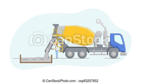 concept., caricatura, controles, work., esboço, personagem, apartamento, process., motorista, trabalhador, construção, linear, concreting, ilustração, misturador concreto, maquinaria, macho, jobs., vetorial, operador - csp83257652