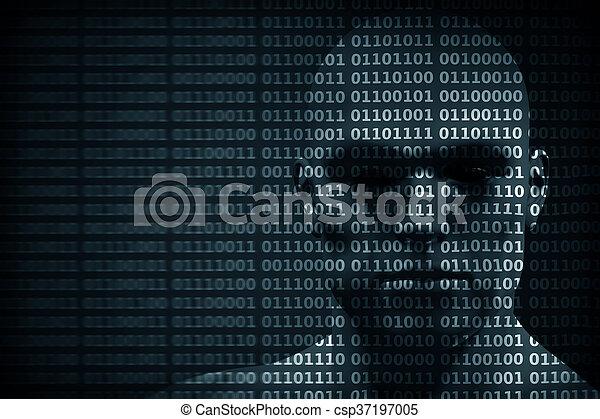 concept, code binaire, mélangé, figure, protection, données, pirate informatique, digits., etc., homme - csp37197005