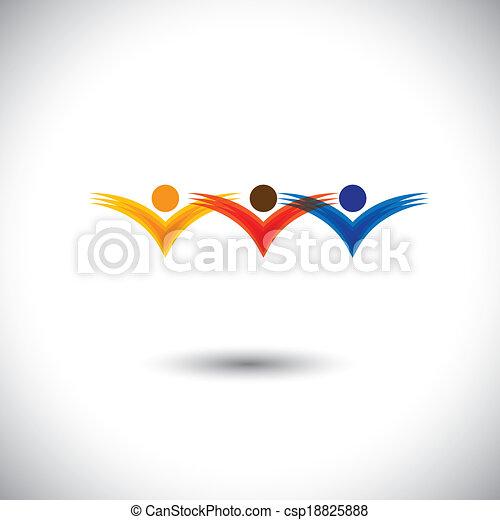 concept, communauté, membres, bâtiment religieux, &, -, enfants, aussi, vector., joie, employés, graphique, représente, gosses école, ceci, inspiré, travail, avoir, sauter, équipe, amusement, jouer - csp18825888