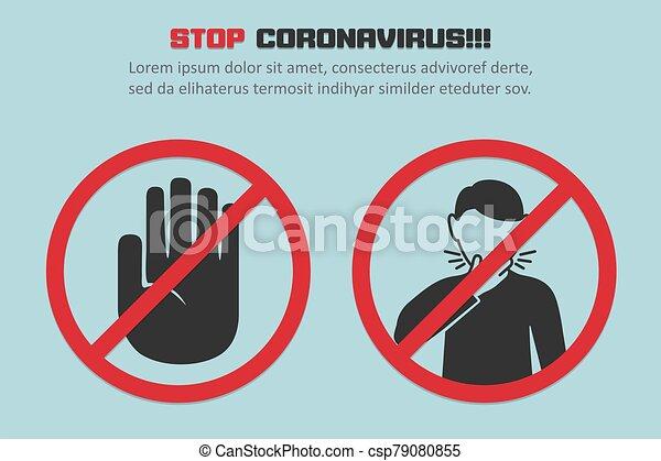 Concept, coronavirus, rood, ontwerp, hoesten, plat ...