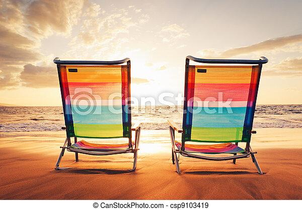 concept, coucher soleil, vacances, hawaien - csp9103419
