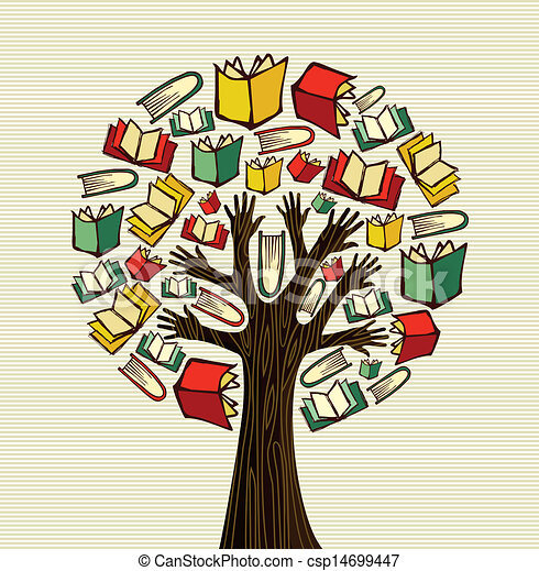concept design hand books tree global education concept tree hand