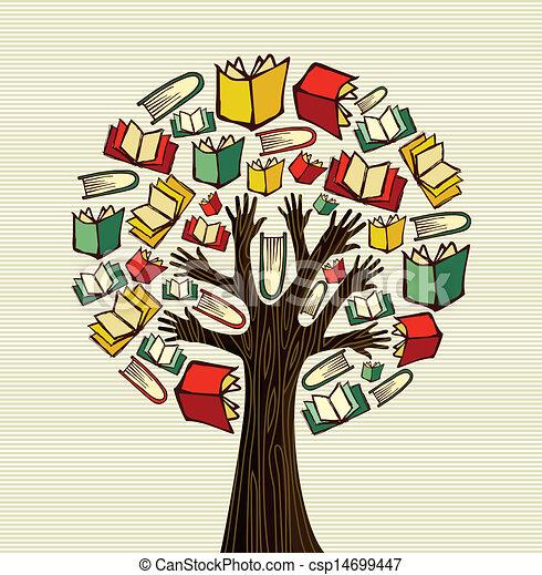 Concept design hand books tree - csp14699447