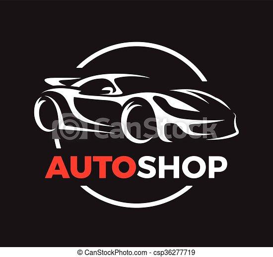 Concept design of a super sports vehicle car auto shop logo. - csp36277719