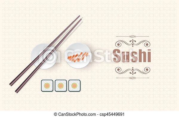 Concept design of the invitation sushi restaurant color vector concept design of the invitation sushi restaurant csp45449691 stopboris Images