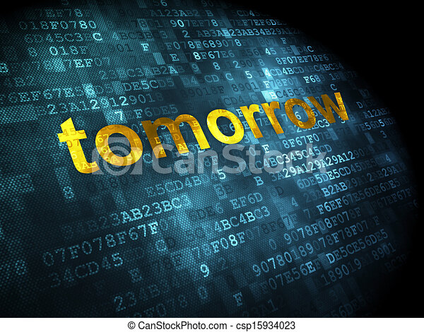 concept:, digital, amanhã, fundo, tempo - csp15934023