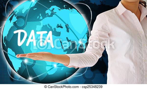 concept, données, tenant main - csp25348239