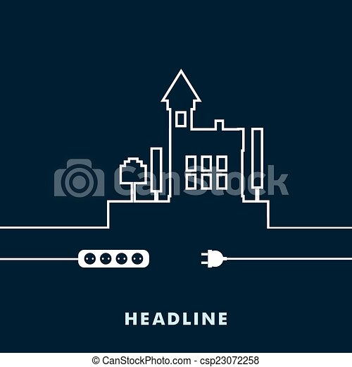 Concept electric circuit city. Vector flat design - csp23072258