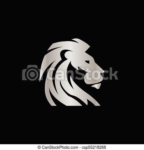 concept, elegant, leeuw, vector, ontwerp, kam, zilver - csp55218268