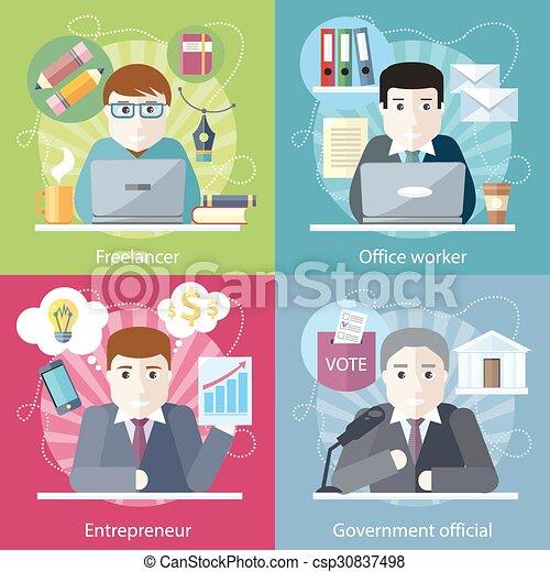 concept, employé, travail, travailleur indépendant - csp30837498