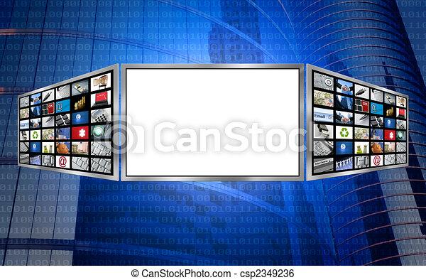 concept, espace, écran, global, technologie, copie, 3d - csp2349236