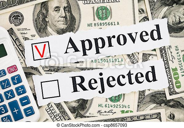concept, financier, approuvé, rejeté, ou - csp8657093
