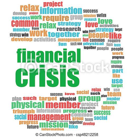 concept, financier, business, collage, texte, crisis., mot, nuage - csp48212258