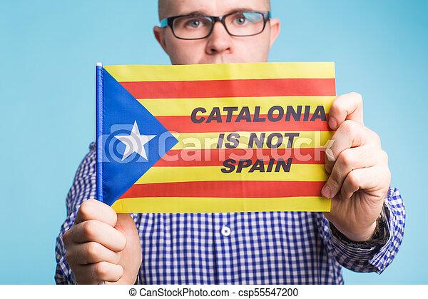 concept, flag., referendum, séparation, pro-independence, homme, espagne, catalogne - csp55547200