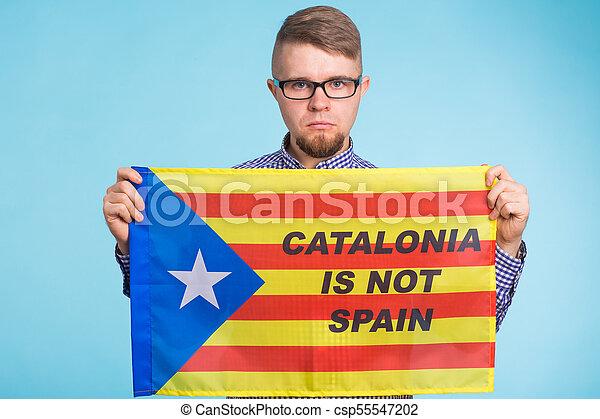 concept, flag., referendum, séparation, pro-independence, homme, espagne, catalogne - csp55547202