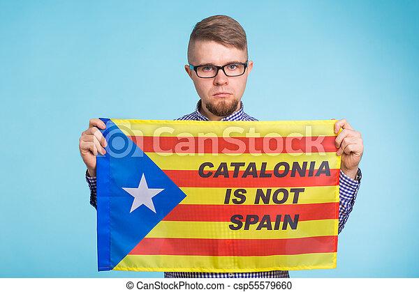 concept, flag., referendum, séparation, pro-independence, homme, espagne, catalogne - csp55579660