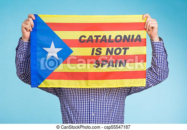 concept, flag., referendum, séparation, pro-independence, homme, espagne, catalogne - csp55547187