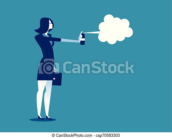 concept, flat., illustration., business, femme affaires, vecteur, disinfecting. - csp70583303