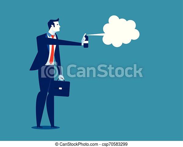 concept, flat., illustration., business, vecteur, homme affaires, disinfecting. - csp70583299