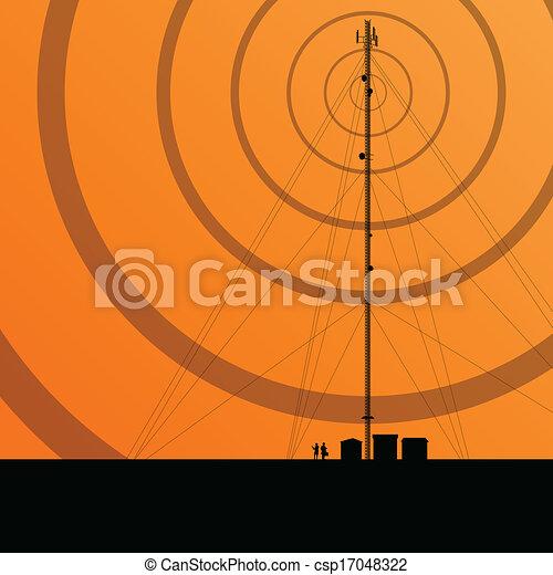 concept, fond, mobile, télécommunications, téléphone, vecteur, radio, base, station, tour, ou - csp17048322