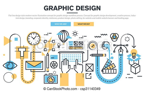 concept for graphic design workflow flat line design concept for