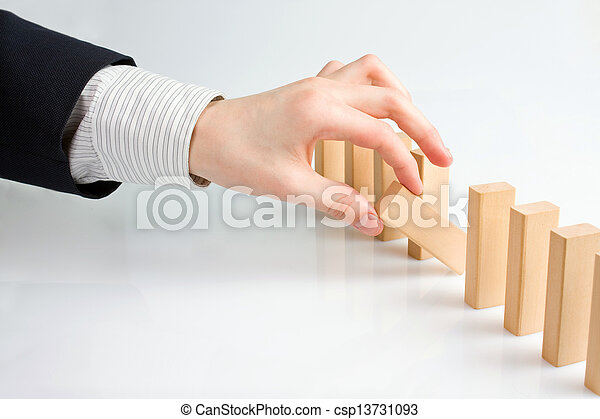 Concept for solution to a problem by stopping the domino effect - csp13731093