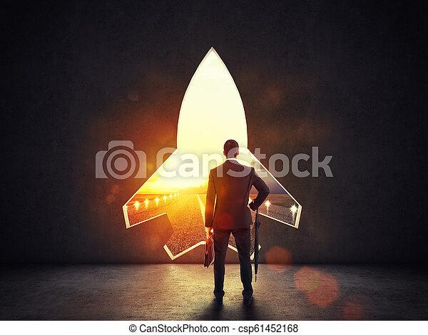 concept, fusée, mur, démarrage, départ, alludes, forme, vers, buts, nouveau, trou - csp61452168