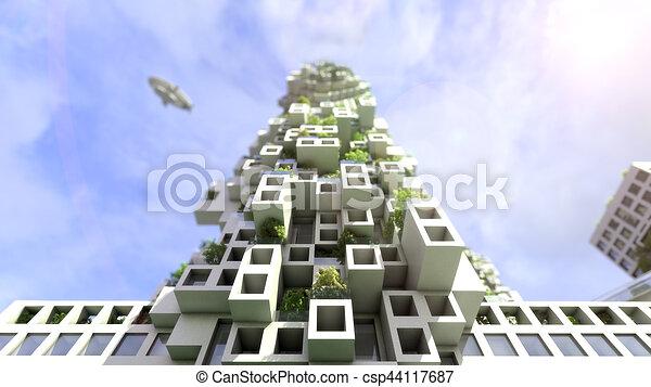 Future city skyline vector