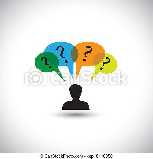 concept, gens, doutes, &, pensée, -, unanswered, aussi, parole, questions., questions, illustration, bulles, homme, représente, graphique, ceci, beaucoup, pensées, etc, vecteur, enquête - csp18416358