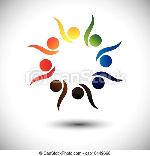 concept, gens, vif, apprentissage, fun., enfants, &, jardin enfants, aussi, cercle, excité, danse, coloré, jouer, graphique, représente, gosses école, gens, employés, ou, vecteur, avoir - csp16449668